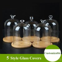 Home Decor Vases Glass Flower Display Cloche Bell Jar Dome Immortal Preservation + Wooden Base Everlasting Cover
