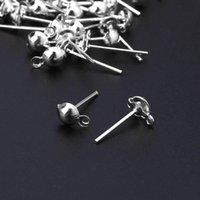 Stud 100pcs fai da te orecchini Post Pin Ball Balls con anello per gioielli per risultati