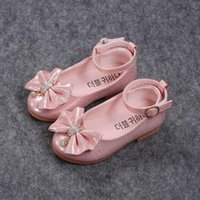 Sneakers 2021 Spring Autumn Fashion Baby Girl Shoes Princess Bow-knot With Rhinestone Pendant Kids Single For Girls Children