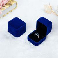 10 unids Franela Joyas de alta gama Cajas de terciopelo Pendientes Anillo Caja de insignia de buena calidad Jewerly Casos Caja de anillos de boda Azul Gris Multicolors 576 R2