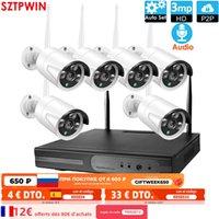 8CH 3.0MP HD Audio Sans fil NVR Kit NVR P2P 1080P Indoor Outdoor IR Night Vision Sécurité 6CH 3.0MP Audio Caméra IP WIFI CCTV Système H0901