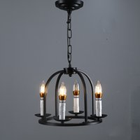 Retro Pendant Lamps Black Iron Round Cage 4 Candle Lights Kitchen Ceiling