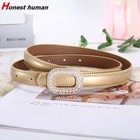 Belts Designer Thin For Women High Quality Luxury Fashion Pearl Smooth Buckle Genuine Leather Waist Belt Female Dress Girdle
