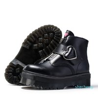 designer High quality fashion black boots buckle zipper short ankle booties women genuine leather motorcyle winter shoes