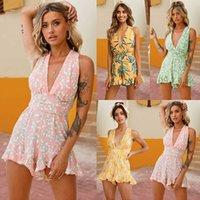 Fashion Casual Robes Combinaison V-Col V-Col Sexy Floral Couleur Floral Shorts Suit Plus Taille Taille Jupe de plage pour femmes
