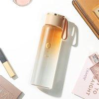 الألوان التدرج الفاخرة زجاج زجاجة مياه زجاج 400ML عصير الشاي المحمولة شاكر للبالغين الهدايا صديقة للبيئة التخييم مكتب 210907