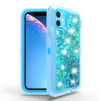 Transparent Liquid Quicksand Defender Phone Cases For iPhone 13 Pro Max 12pro 11pro Xs Xr X 6 7 8 Samsung Galaxy S21 Plus S20 S9 Note20 Ultra S8 Fashion Luxury Cover