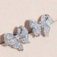 Sterling Silber Schöne Bogen Designer Ohrstecker Glänzende Kristall Luxus CZ Diamant Stein Nette Ohrringe Schmuck Für Frauen 1625 Q2
