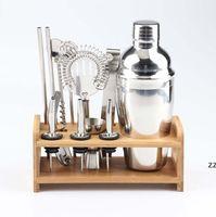 Rostfritt stål Cocktail Bar Tool Set Wine Mixer Kit med bambu står för att göra dryck blanda HWE9375