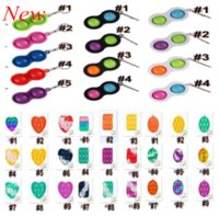 Rainbow Push Bubble Silicone Keychain Fidget Sensory Toys Mental Arithmetic Toy Finger Popper Fun Puzzle Stress Relief Game