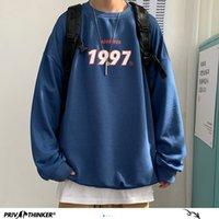Privathinker Sudaderas de primavera Harajuku 1997 Hombres impresos con capucha de gran tamaño 2021 hombre coreano ocasional suelto jerseys