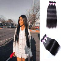 10A Brazilian Straight Virgin Human Hair Extensions Wholesale 3 Bundles Unprocessed 10-30 Inch Natural 1B Color