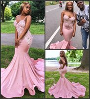 Elegant Sleeveless Prom Dresses Beaded Appliqued Mermaid Pink Black Girls Court Train Plus Size African Evening Gowns Formal Wear
