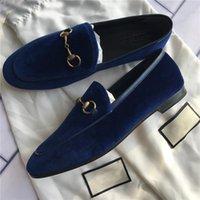 2021 디자이너 드레스 신발 100 % 가죽 금속 버클 플랫 여성 캐주얼 신발 알파벳 벨벳 남성 클래식 짓밟기 게으른 보트 신발 크기 34-45