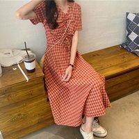 Short Sleeve Dress Women Plaid V-neck Drawstring Summer Womens Fashion Elegant Retro Ulzzang Beauty Casual Daily Korean Style Dresses