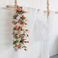 Decorative Flowers & Wreaths Artificial Fake Row Table Runners Wedding Arch Backdrop Floral Road Lead Arrangement
