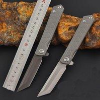 1Pcs Flipper Folding Knife 3Cr13Mov Titanium Coated   Satin Tanto Point Blade Steel Handle EDC Pocket Knives