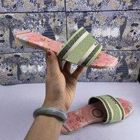 2021 أعلى جودة منصة المرأة دواى الشريحة النعال رامور الصنادل الأزياء مطرزة القطن شقة زحافات جلدية وحيد الفضة المعدنية السببية الأحذية U1CH #