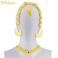 Ethlyn Eritrean الزفاف والمجوهرات التقليدية خمس قطع المختنق مجموعات الذهب اللون الحجر الإثيوبي المرأة S84 C18122701