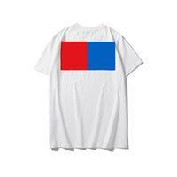 Frauen T-Shirt Lässige Mode T-Shirt Buchstaben Blau Rot Quadratischer Druck LOOSEWOMEN TEES Bequeme Atmungsaktive Männer Sommerfrauen Top 2021