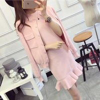 Casual Dresses 2021 Autumn Winter Knitted Two Piece Set Dress Women Solid Long Sleeve Single Breasted Cardigan Sweater + Mermaid Mini Vest S