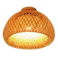 Luces de techo estilo chino led vintage lámpara de ratán vintage sala de estar porche corredor sudeste asia iluminación accesorios