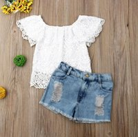 Toddler Kid Baby Girl Sets Summer Clothes Lace White Floral T shirt Tops Jeans Shorts Outfit Children S