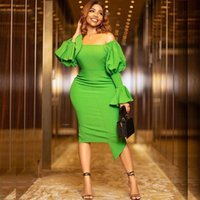 Casual Dresses Sexy Off Shoulder Backless Bodycon Dress Slim Fit Package Hip High Waist Women Evening Party Elegant Green Pencil