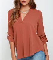 Women's Blouses & Shirts 2021 Fashion Shirt Women Elegant Vintage Chiffon Blouse Long Sleeve OL Casual Plus Size Clothing S-5XL