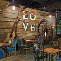 Wallpapers Custom Any Size Wall Cloth Nostalgic Retro Brick Wheel Guitar 3D Wallpaper Restaurant Cafe Background Decoration Mural