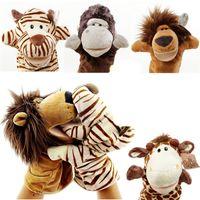Yeni Varış Peluş Hayvan El Kuklaları Sevimli Kaplan İnek Koyun Aslan Tavşan Maymun Oyuncak Çocuk Çocuk Hediye 1007 X2