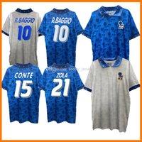 1994 이탈리아 레트로 홈 멀리 축구 유니폼 94 블루 화이트 Maldini Baresi Roberto Baggio Zola Conte Vintage Classic Jerseys Football Shirt
