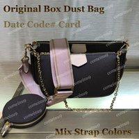 Wholesale mulheres multi cor tiras crossbody saco com caixa 44840 3 peças conjunto de ombro favorito sacos redondos bolsa de cochette messenger bag 44823 Navio grátis