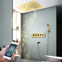 "Luxuoso Villa Grande Gold Rain Shower Systems Conjunto de 23 ""x31"" Música LED Painel Torneiras de Banheiro Thermostatic Mixer Bronze"