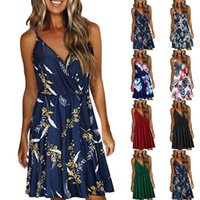 Casual Dresses Women Floral Printing Dress Summer V-neck Strap Swing Bohomian Sexy Backless Party Roupas Femininas 2021 #T1Q