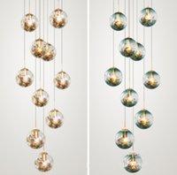 Modern Led glass ball stair lighting lamp spiral stairwell Chandelier ceiling fixtures hotel Villa Living Room E27 lustres