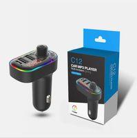 자동차 충전기 FM 송신기 5.0 무선 블루투스 핸즈프리 C13 T32 C12 자동차 MP3 키트 FM 변조기 듀얼 USB 유형 -C PD 충전기 RGB 빛