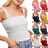 Women Camisole Knit Vest Hollow Out Sexy Slim Fit Crop Top Ladies Solid Color Vest