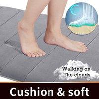 Carpets Home Bath Mat Coral Fleece Bathroom Floor Carpet Water Absorption Non-slip Memory Foam Absorbent Washable Rug Toilet