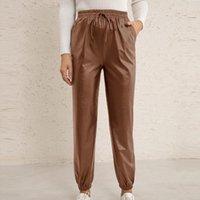 Women's Pants & Capris Leather Leggings For Women Elastic High Waist Skinny Vintage Straight Leg With Pockets