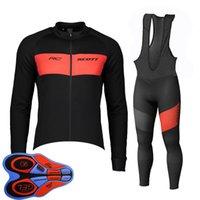 스프링 / 오토 룸 스콧 팀 망 사이클링 저지 세트 긴 소매 셔츠 턱받이 바지 정장 MTB 자전거 복장 경주 자전거 유니폼 야외 스포츠 착용 Ropa Ciclismo S21042044