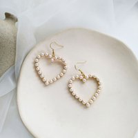 earrings Korea S925 Tremella hook South simple pearl love female sweet temperament hollow out peach Earrings