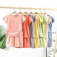 2021 летние новые детские модальные с коротким рукавом футболка набор мальчиков и девочек высокая талия домашняя одежда детский два куска