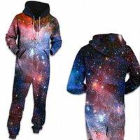 Donne Space Space Galaxy Star Stampato Loungewear Pigiama Unisex Zipper con cappuccio con cappuccio sciolto Open Sleepwear Onesies per adulti spessi tute M3KS #