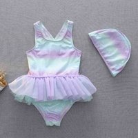 Ins Children's Swimsuit Magic Color One Piece Ballet Princess Lace Skirt Kids Baby Girls One Piece Swimsuit Swimwear with Swimming Cap G60N2OK