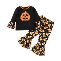 Halloween Kids Clothing Sets Girls Outfits Baby Clothes Children Wear Pumpkin Striped T-shirts Flared Pants Spring Autumn Cartoon 2Pcs B8274