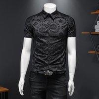 Summer Top Shirts Business Formal Dress Camisa Social Masculina Flower Luxury Black Crown Flocking Short Sleeve Men