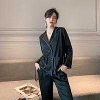 Стиль любителей пижамы женские весной и осенью с длинным рукавом Rayon пальто двойной грудью домашняя одежда онлайн