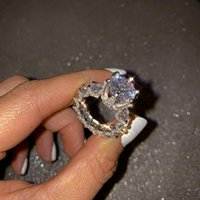 Cluster Rings 925 Silver In Europe And America Noble Princess Ring With Diamond Jewelry Gift For Women Wedding Party