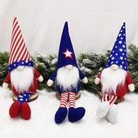 1 unids American Independence Day Party Supplies Dwarf Elf Ornaments Sombrero de piernas largas Punta de piernas con rostro Muñeca sin rostro Star-Spangled Banner Puppet